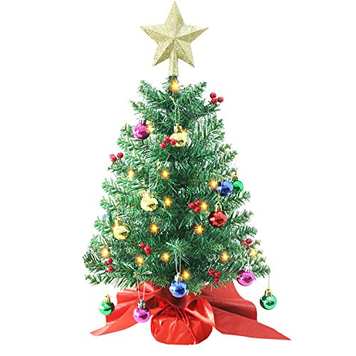 Liecho 24 Inch Tabletop Christmas Tree, Artificial Mini Xmas Pine Tree with LED String Lights and Ornaments,Christmas Decoration Tree Decor