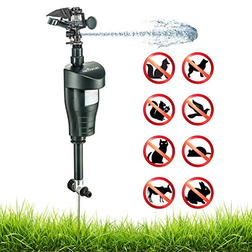 Activated Motion Sensor Water Sprinkler Animal Repellent – Ultra Humane & Safe Way of Scaring Away Wild Animals – Cats, Dogs, Birds, Squirrels, Etc. – Effective Motion Detector Sprinkler – ()