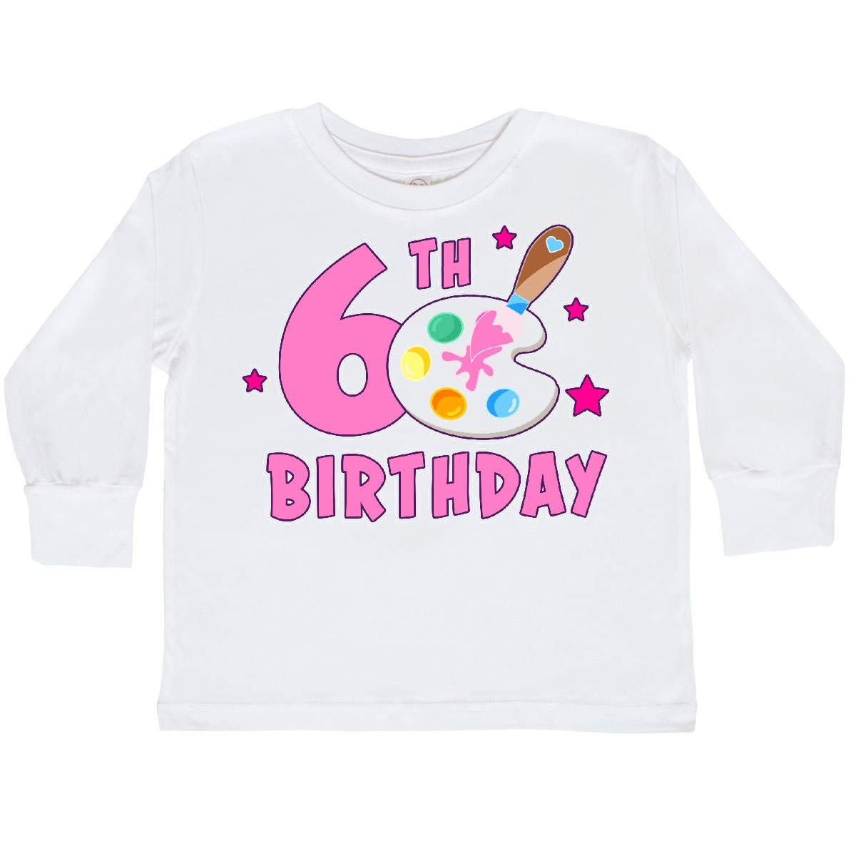 inktastic 6th Birthday with Paintbrush and Palette Toddler Long Sleeve T-Shirt