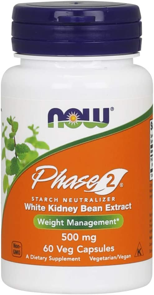NOW Supplements, Phase 2® (White Kidney Bean Extract) 500 mg, Weight Management*, 60 Veg Capsules