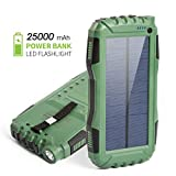 Elzle 25000mAh Portable Solar Power Bank Dual USB Output Battery Bank with Strong