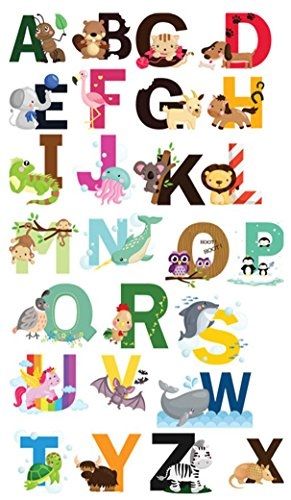 Alphabet Nursery Wall Art - Nursery Educational Wall Decals - Animal Alphabet Baby Decorative Peel and Stick Wall Art Sticker for Daycare School Kids Room Decoration Decals