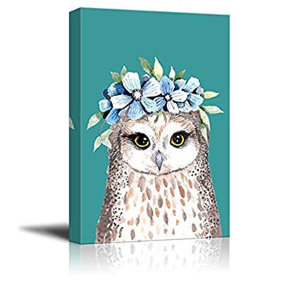 Animal Series Handdrawing Owl with Flower Garland - Canvas Art