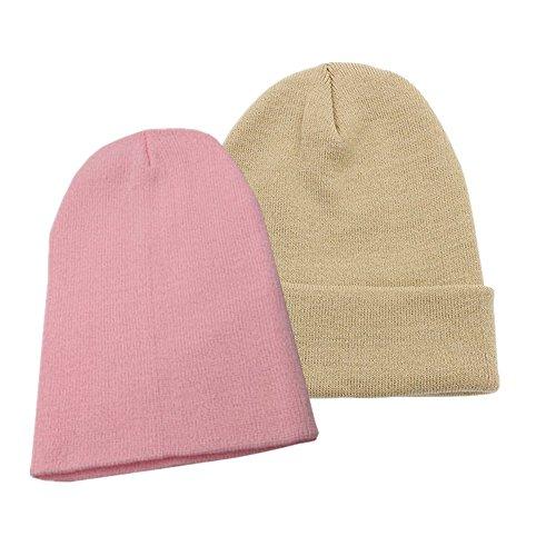 Beanie For Women Men, 2 Pack Unisex Cuffed Plain Skull Beanie toboggan Knit Hat Cap Solid Color (Beige/Pink) (Beanie Asap)