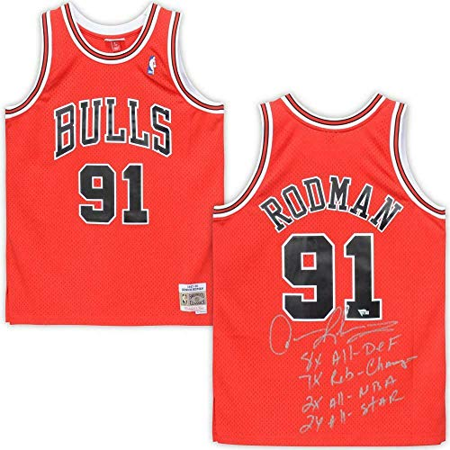 DENNIS RODMAN Autographed Chicago Bulls Multiple Stat Jersey FANATICS LE 9