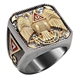 Scotish Rite 32 Degree Masonic Templar Cross Ring White and Yellow 18k Gold Plated Double Eagle Unique Highly Collectible BR6