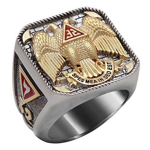 UNIQABLE Masonic Scottish Rite 32 Degree Ring 18K Gold PLD White Version 40 Grams Templar Handmade BR-6 (11.5)