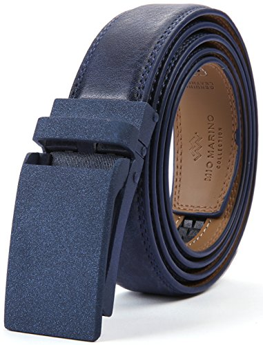 Marino Avenue Men's Genuine Leather Ratchet Dress Belt with Linxx Buckle, Enclosed in an Elegant Gift Box - Navy Blue - Style 165 - Adjustable from 28