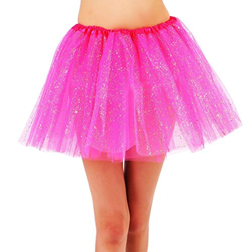 YoungLove Women's Classic 3 Layered Tulle Sparkling Sequin Tutu Skirt, Rose
