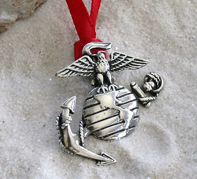 Pewter USMC Marine Corps Insignia Semper Fi Christmas Ornament and Holiday Decoration