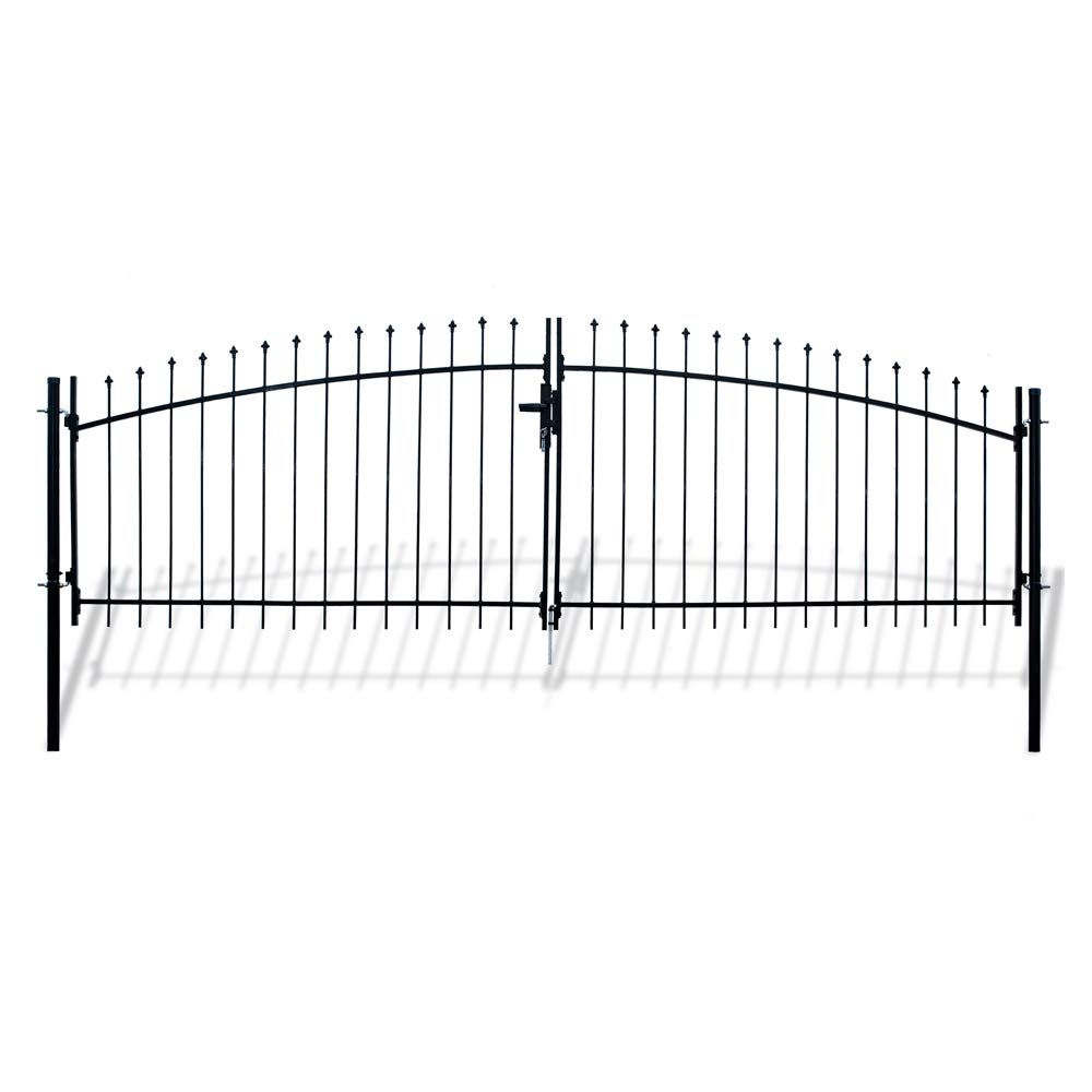 ALEKO DWGD13X5 DIY Arched Steel Dual Swing Driveway Gate Kit with Lock Athens Style 13 x 5 Feet