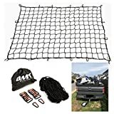 Orion Motor Tech 4 x 6 feet Stretches to 8 x12 feet Trailer Cargo Net Truck Bed with 16pcs Aluminium Hooks, 4 x4 inches Small Mesh, 1/5 inches DIA. Latex Bungee Cords