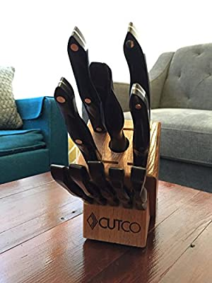 CUTCO Model 1945 White (Pearl) Essentials +5 Set with Honey Oak Knife Block............ Set includes 1720 Paring Knife, 1726 Turning Fork, 1728 Petite Chef, 1729 Petite Carver, 1768 Spatula Spreader, (5) 1759 Table Knives, and 1651 Oak Block.