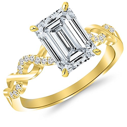 0.51 Ct Emerald Cut Diamond (14K Yellow Gold 0.64 CTW Twisting Infinity Gold and Diamond Split Shank Pave Set Diamond Engagement Ring w/ 0.51 Ct GIA Certified Emerald Cut F Color VVS2 Clarity Center)