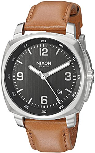 Nixon Men's 'Charger' Quartz Metal and Leather Watch, Color:Brown (Model: A10771037-00) ()
