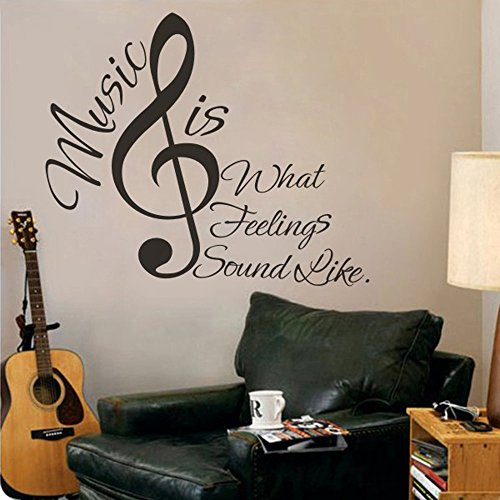 MairGwall Music is What Feelings Sound Like with Musical Notes Vinyl Wall Lettering Decal (Small, (Vinyl Rub)