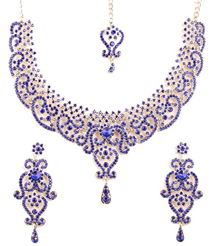 (Touchstone New Indian Bollywood Fine Filigree Red Faux Grand Bridal Jewelry Necklace Set in Silver Tone for)