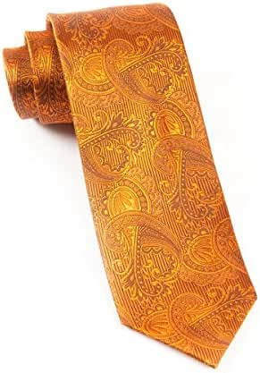 The Tie Bar 100% Woven Silk Burnt Orange Twill Paisley 2 1/2 Inch Skinny Tie