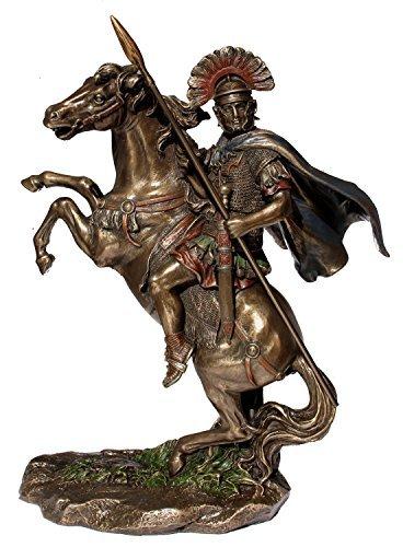 Bronzed Finish Roman Centurion on Horseback (Horseback Statue Figure)