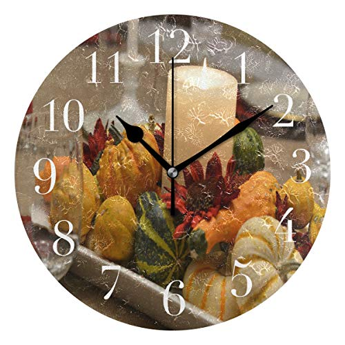 FunnyCustom Round Wall Clock Vintage Thanksgiving Acrylic Creative Decorative for Living ()