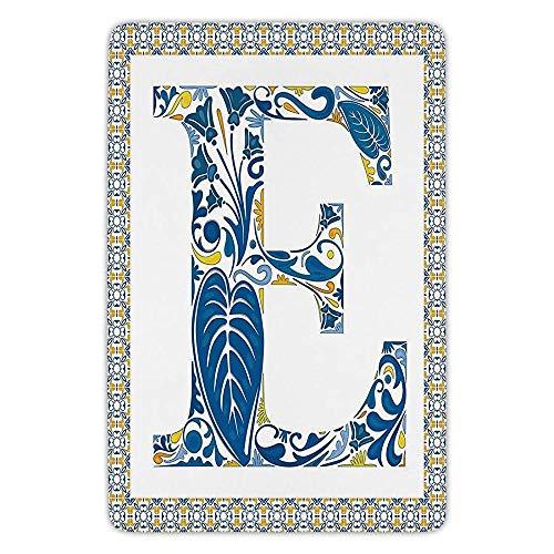 (Bathroom Bath Rug Kitchen Floor Mat Carpet,Letter E,Portuguese Tiles and Floral Arrangement Colorful Artistic Design Alphabet Decorative,Blue Yellow Orange,Flannel Microfiber Non-Slip Soft Absorbent)