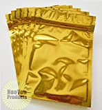 marijuana packaging - Gold Aluminum/foil Pouches, Mylar Ziplock Heat Seal Bags, Safe Food Storage, Smell Proof Product Packaging, Reusable Durable, Survivalist Baggies (Herbs Seeds Tea Coffee Snacks Pharma) (100, 4x5)