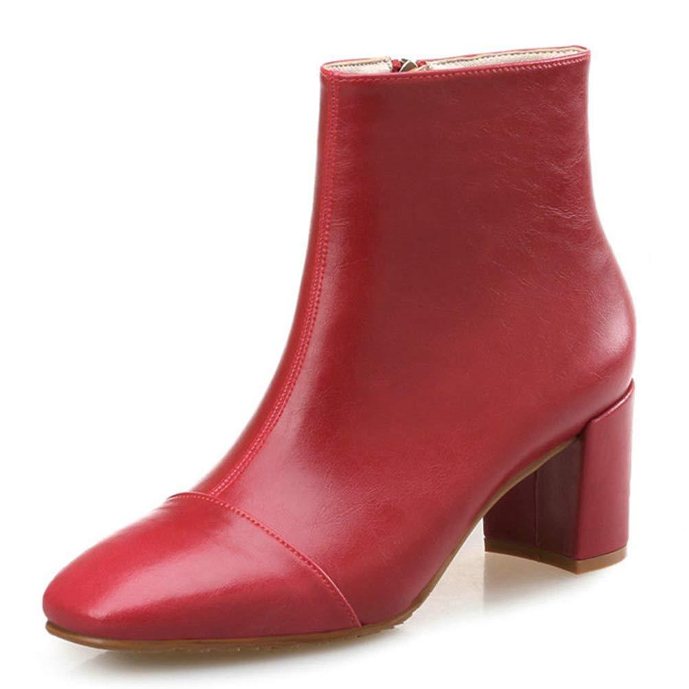 Frauen quadratische Ferse High Heels Herbst Winter echte Lederstiefel Reißverschluss Pumps High Top Chelsea Stiefel Stiefeletten