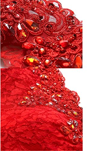 Babyonline®2016 De Dentelle Épaule Soirée Sirène Rouge Robe De Demoiselle D'honneur Formelle Rouge