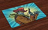 Ambesonne Blue Place Mats Set of 4, Steampunk and Western Style Robot Cowboy Makes OK Gesture Illustration, Washable Fabric Placemats for Dining Room Kitchen Table Decor, Petrol Blue and Brown