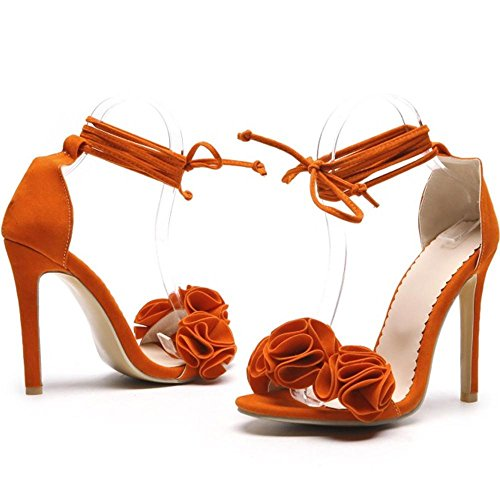 Heel TAOFFEN Orange Sandalen Damenmode High 174qCxHO7w