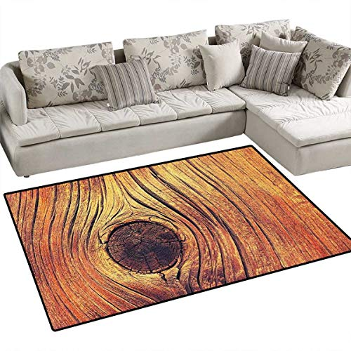 Rustic Area Rugs for Bedroom Life Tree Concept with Divided Core Macro Circles Habitat Natural Wonder Growth Photo Door Mats for Inside Non Slip Backing 3'x5' Brown