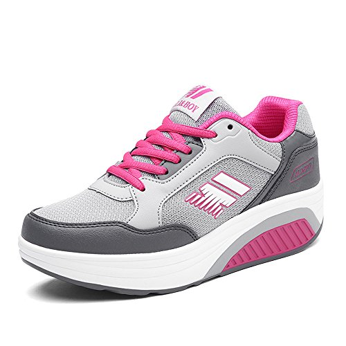 EnllerviiD Fitness Out Red Fashion Grey Mesh Wedges 975 Women Platform Ups Work Shoes Shape Sports Sneakers TwrTqz