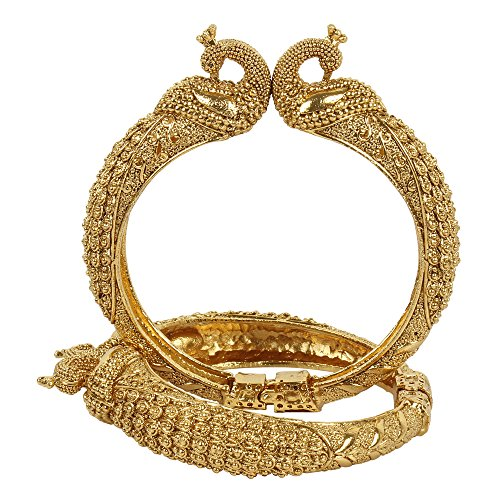 (MUCH-MORE Great Collection Bollywood Fashion Gold Plated Tone Indian Polki Traditional Bangles/Bracelets Jewelry for Women (352, 2.6))