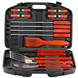 Estilo EST0194 18 Piece Stainless Steel Barbecue Grill Tool Set with Storage Case