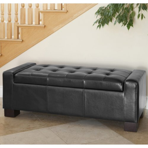 Amazon.com: Best Selling Guernsey Black Leather Storage Ottoman: Kitchen &  Dining - Amazon.com: Best Selling Guernsey Black Leather Storage Ottoman