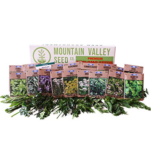 (Culinary Herb Seeds Garden Collection | Premium Assortment | 18 Non-GMO Seed Packets: Savory, Peppermint, Anise, Fennel, Cilantro, Sage, Rosemary, Thyme, Arugula, More)