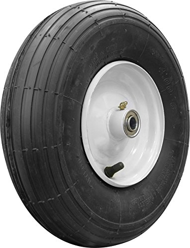 Shepherd Hardware 3337 4.00x6-Inch Pneumatic Wheelbarrow Tire, 13-Inch Tubeless, Ribbed Tread, 3-Inch Centered Hub, 5/8-Inch Axle Diameter, Ball Bearing