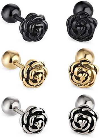 Cottvott Flowers Surgical Steel Earrings Studs for Womens Gold Black