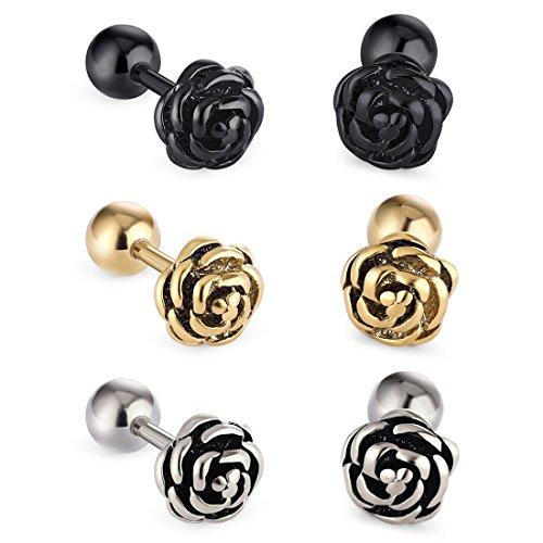 Cottvott Flowers Surgical Steel Earrings Studs for Womens Gold Black (3pairs Mix Color) ()