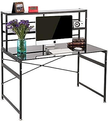 Vida Carver compacto negro cristal ordenador estación de trabajo oficina en casa estudio de escritorio con baldas de almacenamiento portátil escritorio mesa