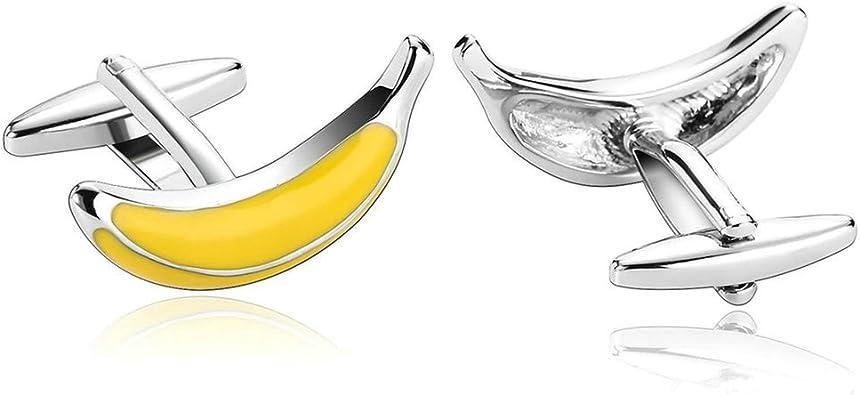 Daesar 2 Piezas Gemelos Hombre Rodio Plateado Amarillo Fantasía 3D Plátanos Fruta Camisa Alianzas de Boda: Amazon.es: Joyería