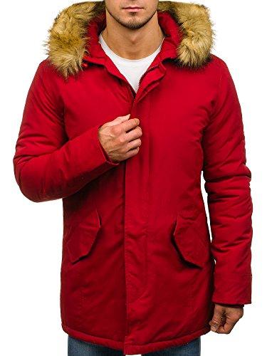 Bolf – Giubbotto Invernale Con Cappuccio Tipo Parka Allungata Stile Street Da Uomo 4d4 Rosso