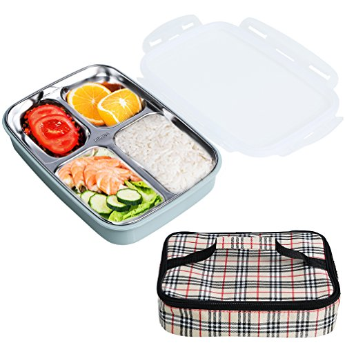 Bento Box for Kids Adults Compartment Stainless Steel Lunch Box for School Picnic Office Microwave Leakproof Food Storage Container with Insulated Carry Bag (Stainless Steel Thermo Plate)