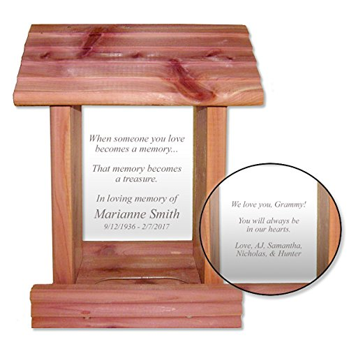Custom Laser Engraved Sympathy Gift Memorial Bird Feeder Cedar Wood Made in USA and Personalized In Loving Memory Inscription, Epitaph, or Poem on Front & Back Review
