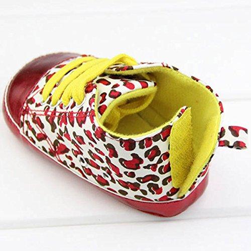 13cm Babyschuhe Säugling Kleinkind Leopard Krippe Schuhe Weiche Sohle 3 - 12 Monate Rot