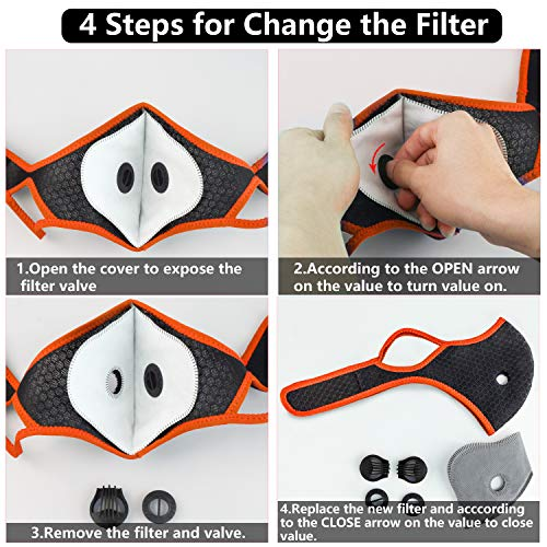 Face Covering Reuseable with 10 Filters for Men Women Adult (Orange+Black)