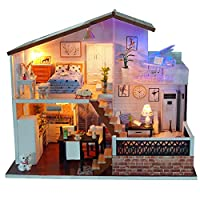 DIY Dollhouse Kit Wooden Dolls House with Furniture and Accessories Included 3 Storey Play Cabin Handmade Birthday Gift Home Decor
