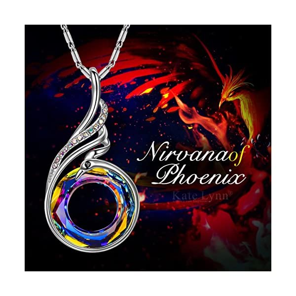 """Kate Lynn Necklaces for Women Jewelry Gift Woman's ❤️Nirvana of Phoenix❤️ Swarovski Crystals Pendant Necklaces Chain Length 18.0""""+2.0"""" Extender with Gift Box, Soft Cloth"""