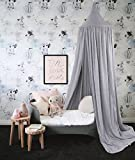 Children Bed Canopy Round Dome, nursery decorations, Cotton Mosquito Net, Kids Princess Play Tents, Room Decoration for Baby (Grey)