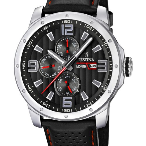 Festina Chrono Bike 2012 Men's Quartz Watch with Black Dial Analogue Display and Black Leather Strap F16585/8